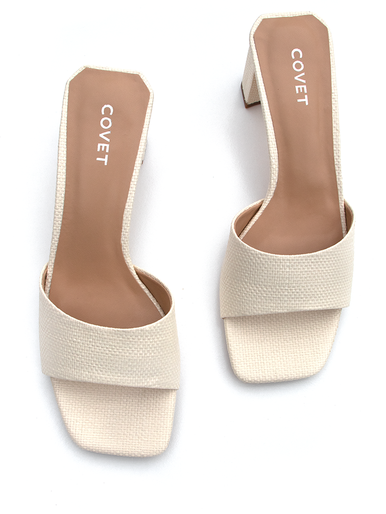 Overhead view of vanilla cream woven block heels from Covet Shoes