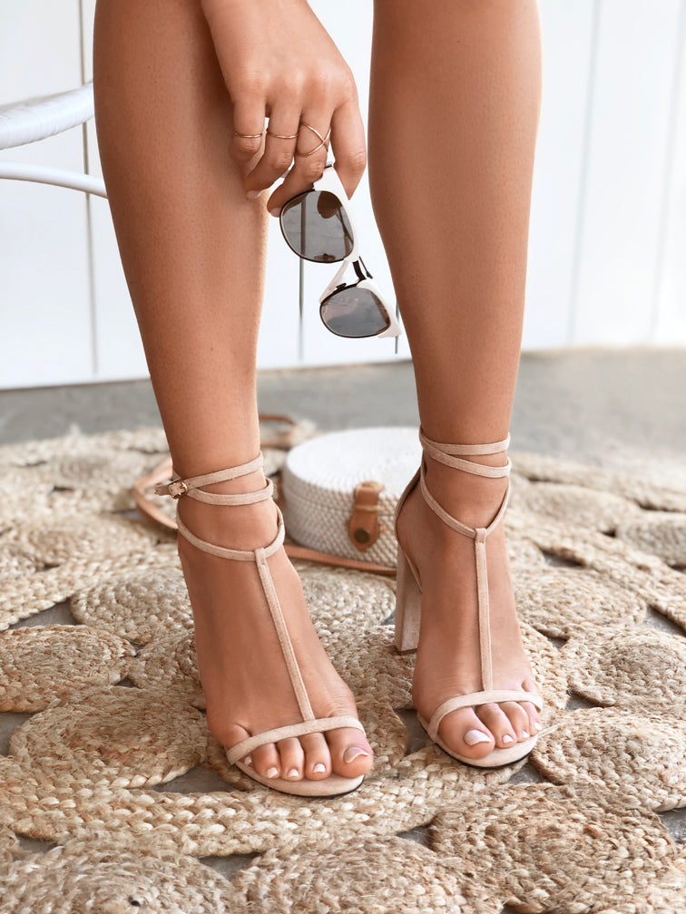 Women's Nude Beige Sand Netural Faux Suede T- Bar Strappy 10cm Block Heel Sandal - Tara Nude Covet Shoes