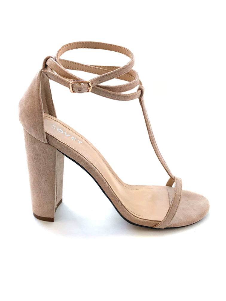 Tara Nude T-Bar Strappy Block Heel