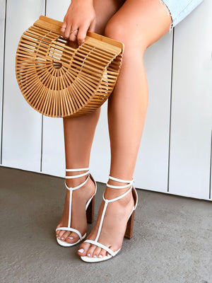 Women's White Faux Leather T- Bar Strappy 10cm Block Heel Sandal with Wooden Heel - Tara White Covet Shoes