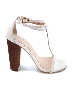 Tara White T-Bar Strappy Block Heel
