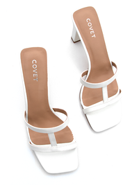 Covet Shoes Top View of Off White T Bar Slim Block Heels
