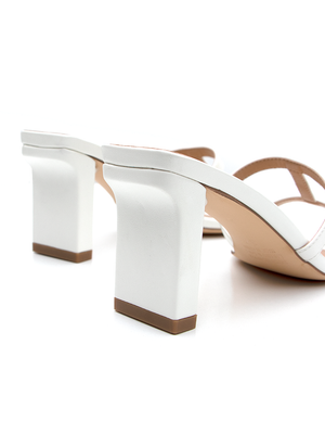 Covet Shoes Heel Close Up of Off White Block Heels