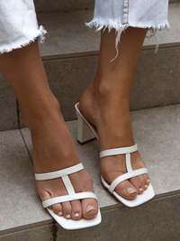 TESSA Off White Block Heels
