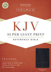 KJV Super Giant Print Reference Bible, Black Genuine Leather