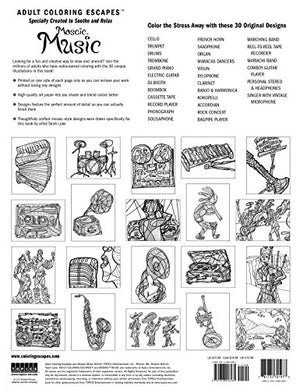 Adult Coloring Escapes Coloring Books for Adults - Mosaic Music Featuring 30 Stress Relieving Designs of Musical Instruments