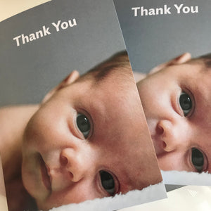 Blue eyed baby thank you cards