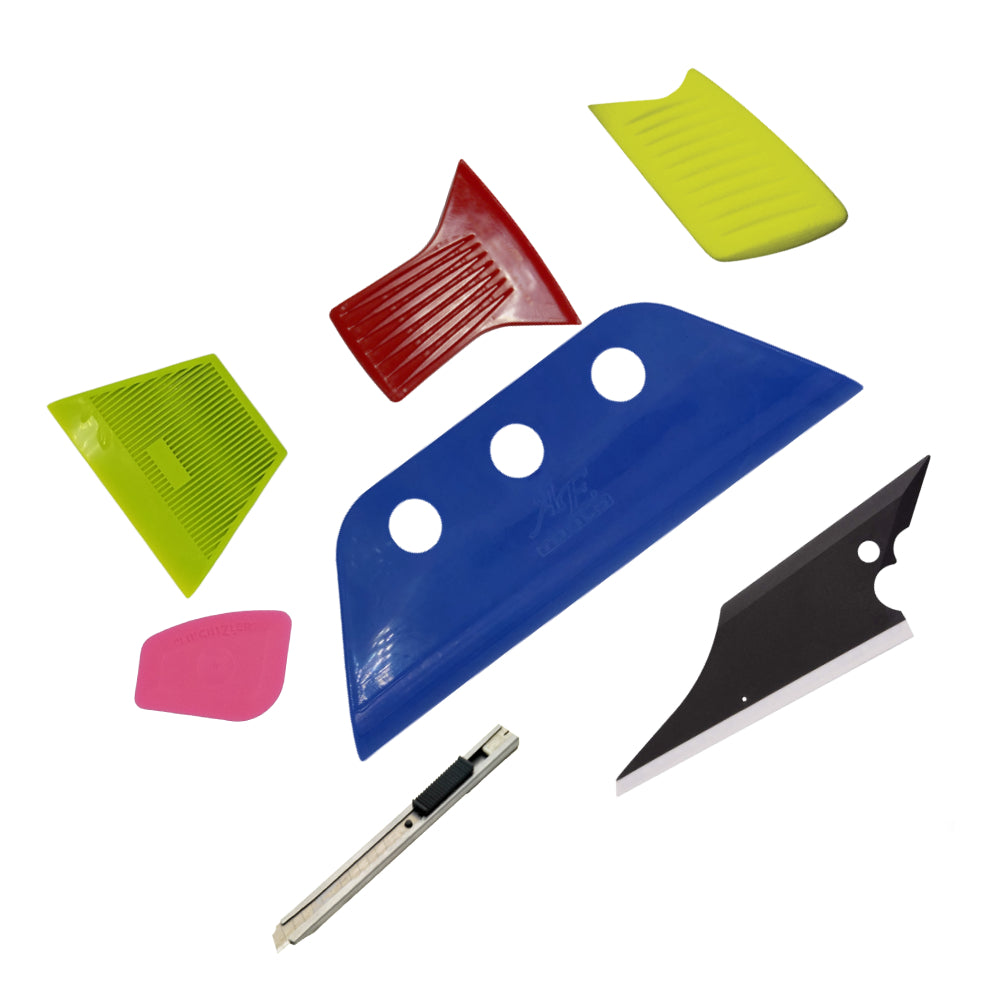 AE-156 Pro Tail Fin (hard) Gator Back Gasket Window Tint Squeegee Scraper Knife Set - AE QUALITY FILM