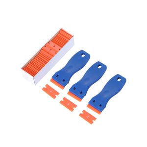 AE-47463pc 3 Blue Plastic Double Edged Blade Scraper with 100PCS Plastic Razor - AE QUALITY FILM