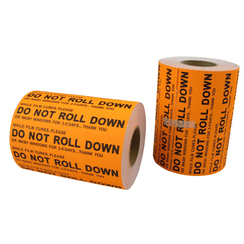 AE-101-O - DO NOT ROLL DOWN Sticker  Low Tack, 1000 ct - AE QUALITY FILM