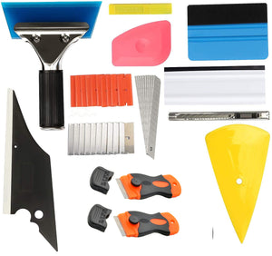 AE-993 Window Tint, Car Window Film Tinting Tools, Vinyl Wrap Kit, Felt Squeegee, Window Tint Squeegee, Plastic Scrapers, Utility Knife and Blades - AE QUALITY FILM