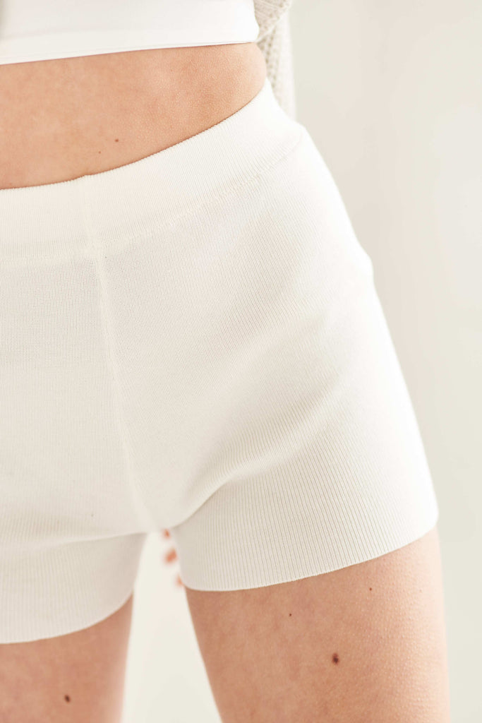 Ribbed Knit Short - White Shorts