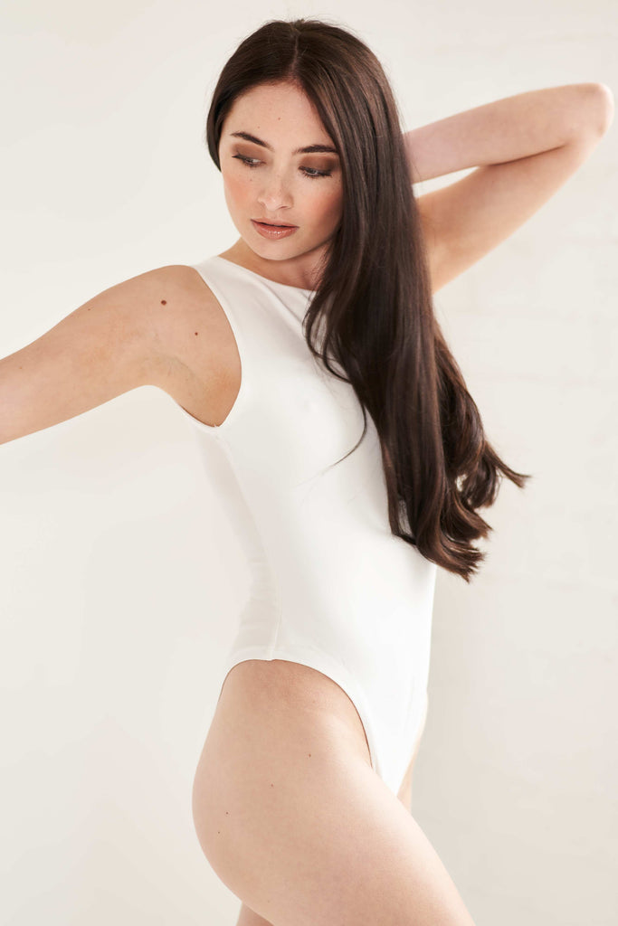 Scuba Racerback Body Suit - White Bodysuit