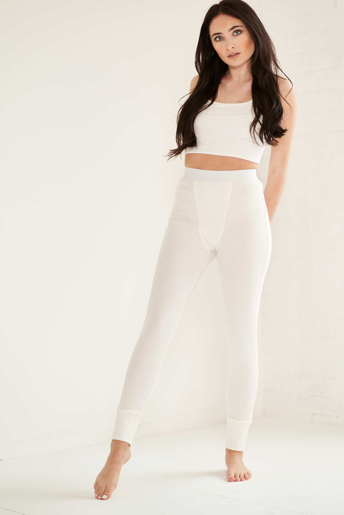 Ribbed Lounge Leggings - White