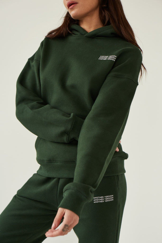 Premium Cotton Hoodie - Deep Green