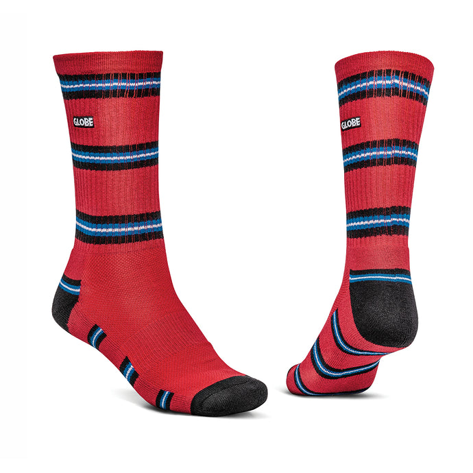 Globe Motion Crew Sock Red Stripe, Footwear Globe Brand Australia