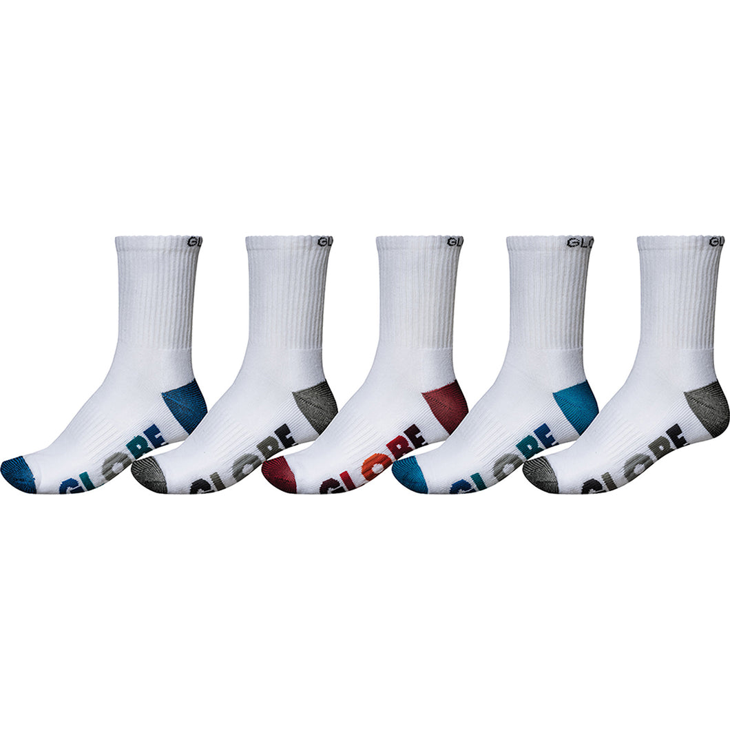 Globe Multi Stripe Crew Sock 5 Pack White, Socks Globe Brand Australia
