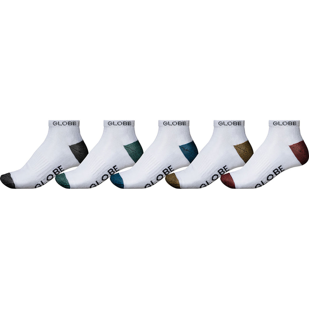 Globe Ingles Ankle Sock 5 Pack White, Socks Globe Brand Australia