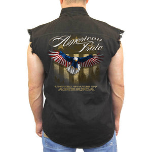 Men's American Pride United States Sleeveless Denim Shirt BLACK - TheBeardWarehouse