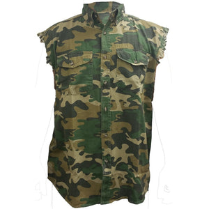 Men's Camo Sleeveless Denim Shirt Crazy Biker Mouse Denim Vest - TheBeardWarehouse