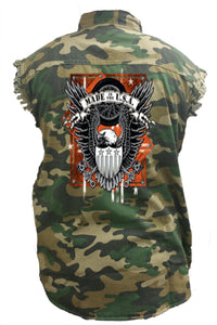 Camo Denim Shirt Made In The USA Bald Eagle Denim Vest - TheBeardWarehouse