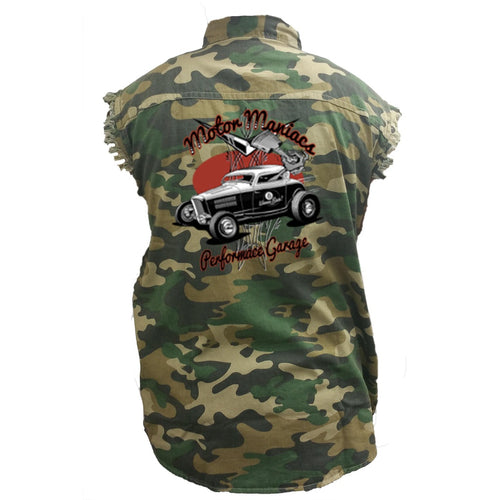 Men's Camo Sleeveless Denim Shirt Motor Maniacs Performance Garage - TheBeardWarehouse