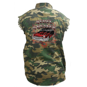 Men's Camo Sleeveless Denim Shirt Rebel Greaser Hot Rod - TheBeardWarehouse