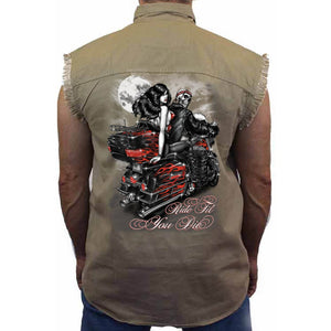 Men's Sleeveless Denim Shirt Ride Till You Die - TheBeardWarehouse