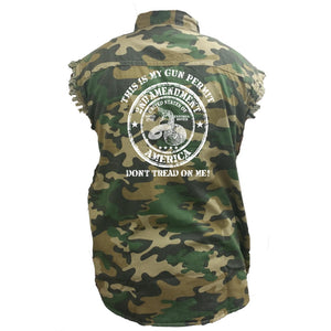 Men's Camo Sleeveless Denim Shirt This Is My Gun Permit, Dont Tread On Me - TheBeardWarehouse