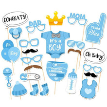 25-Piece Photo Booth Props for Baby Shower Baby Party with Diaper Glasses Boy Version - TheBeardWarehouse