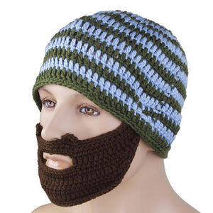 Handmade Knitted Beard Hat Mustache Bicycle Mask Crochet Ski Cap - TheBeardWarehouse