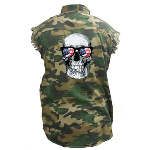 Men's Camo Sleeveless Denim Shirt Skull With American Sunglasses - TheBeardWarehouse