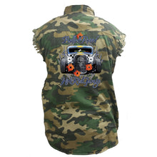 Men's Camo Sleeveless Denim Shirt Bullet Proof Hot Rod Garage - TheBeardWarehouse