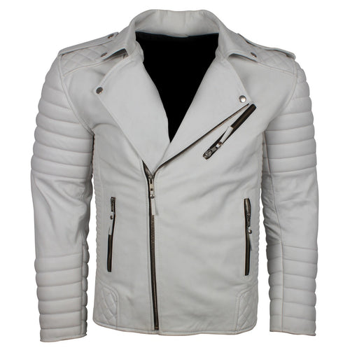 Mens White Genuine Leather Brando Biker Leather Jacket - TheBeardWarehouse