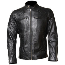 David Beckham Men Black Cowhide Motorcycle Leather Jacket - TheBeardWarehouse