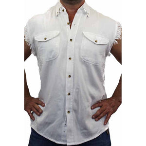 Men's Sleeveless Denim Shirt Ride Til You Die - TheBeardWarehouse