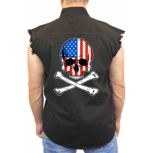Men's USA Flag Skull with Crossed Bones Sleevless Denim Shirt Biker - TheBeardWarehouse