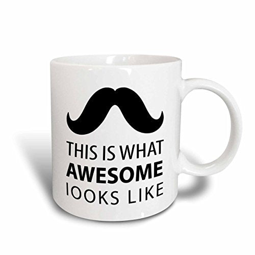 Awesome Mustache Hipster Retro Black and White Art Ceramic Mug, 15-Ounce