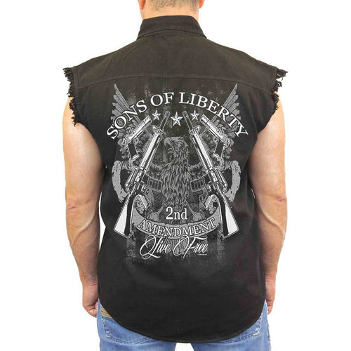 Men's Sleeveless Denim Shirt Sons of Liberty 2nd Amendment Biker - TheBeardWarehouse