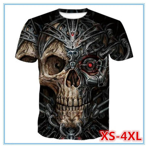 Skull 3D Printed T-Shirt Creative Short Sleeve Casual Mens Top
