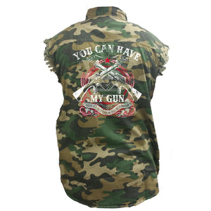Men's Camo Sleeveless Denim Shirt You Can Have My Guns - TheBeardWarehouse
