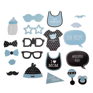 20Pcs/set DIY Mask Photo Booth Props Mustache Cloth Glasses Baby Shower Boy - TheBeardWarehouse