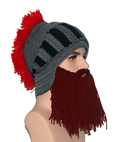 Barbarian Knight Knit Beard Hat Beanie Halloween Knit Caps - TheBeardWarehouse