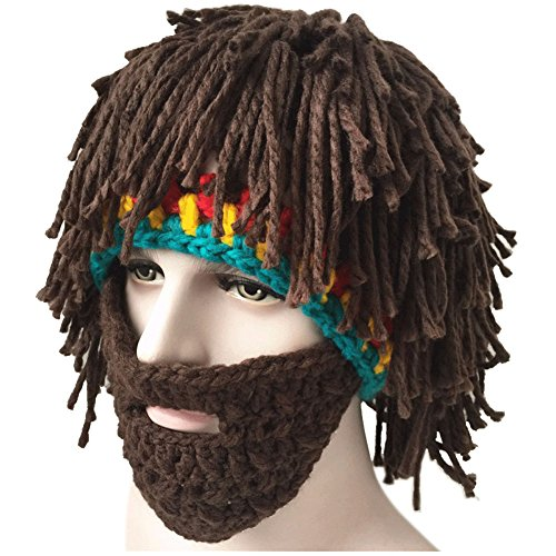 Creative Winter Hat with Knitting Wool Hair and Beards - TheBeardWarehouse