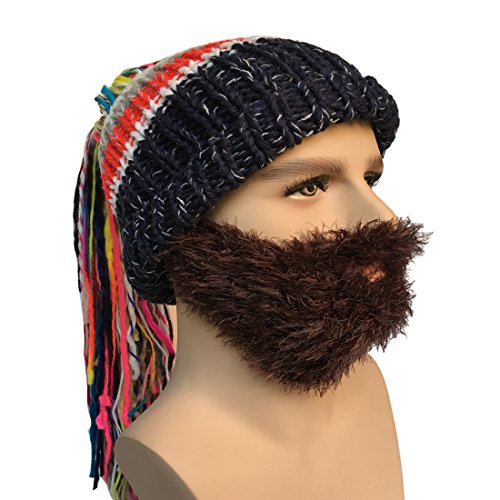 Men's Knit Bearded Hats Ponytail Wig Winter Mask Beanie - TheBeardWarehouse