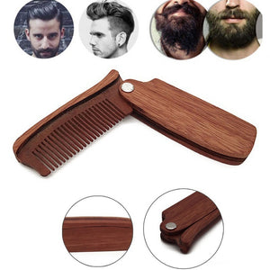 Wood Folding Anti-static Moustache & Beard Comb - TheBeardWarehouse