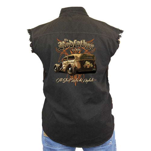 Men's Sleeveless Denim Shirt The RodFather - Classic Car Denim Vest - TheBeardWarehouse