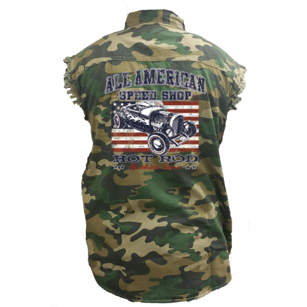 Men's Camo Sleeveless Denim Shirt American Speed Shop Hot Rod Car Racer - TheBeardWarehouse