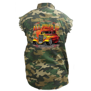 Men's Camo Sleeveless Denim Shirt All Fired Up Hot Rod - TheBeardWarehouse