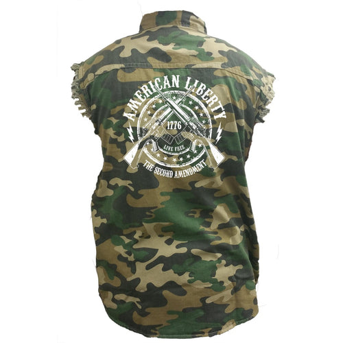 Men's Camo Sleeveless Denim Shirt American Liberty The Second Amendment - TheBeardWarehouse